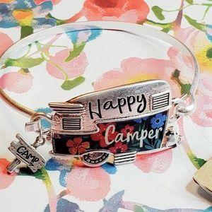 Jewelry - Happy camper silvertone hinge bracelet